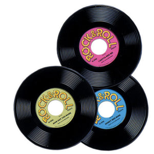 Pack of 3 Rock and Roll Plastic Record - 50's Party Decoration - Music Records