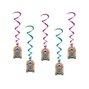 Pack of 5 Jukebox Hanging Whirls - 102 cm - Music Player - Party Decorations