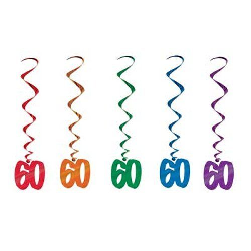 Pack of 5 60th Birthday Hanging Whirls - 91cm - Happy Birthday Party Decorations