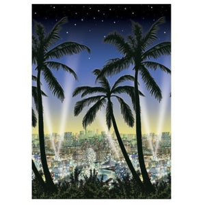 Hollywood City Scape Scene Setter - Palm Tree and City Sky Line Party Decoration