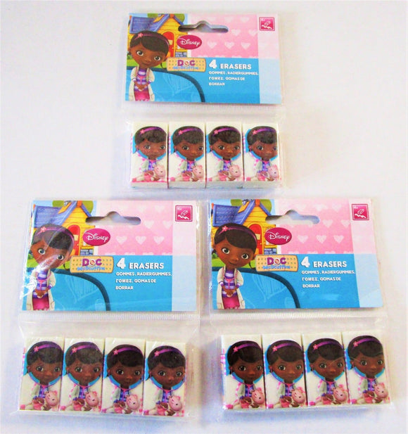 Pack of 12 Disney Doc McStuffins Erasers - Party Favours - Party Bag Fillers