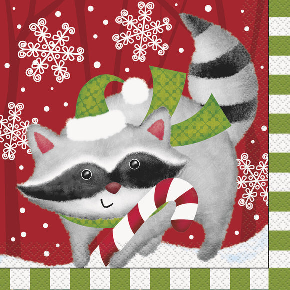 Pack of 16 Christmas Woodland & Friends Paper Napkins - 33 cm - Party Tableware