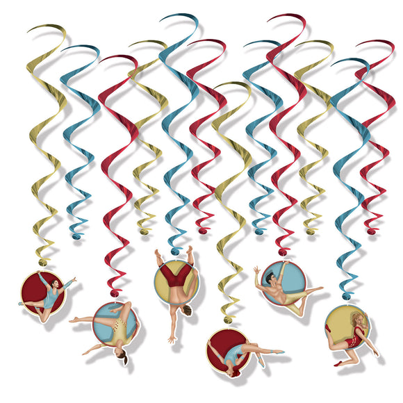 Pack of 12 Vintage Circus Hanging Whirls Party Ceiling Decorations - 43 x 81 cm