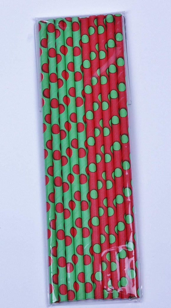 Pack of 30 Red and Green Polka Dot Paper Straws - Christmas Party Tableware