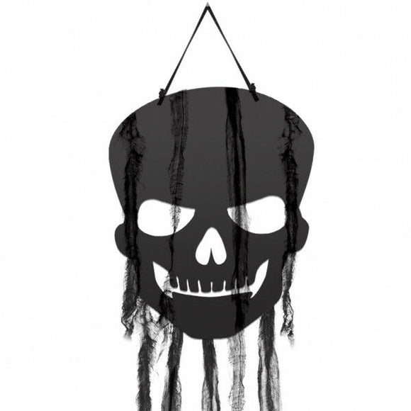 Pack of 4 Hanging Black Skull Cutouts with Guaze - Halloween Party Decorations