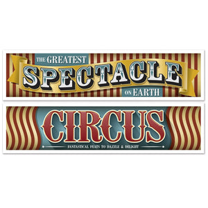 Pack of 2 Vintage Circus Banners - 38 cm x 152 cm - Party Wall Decorations
