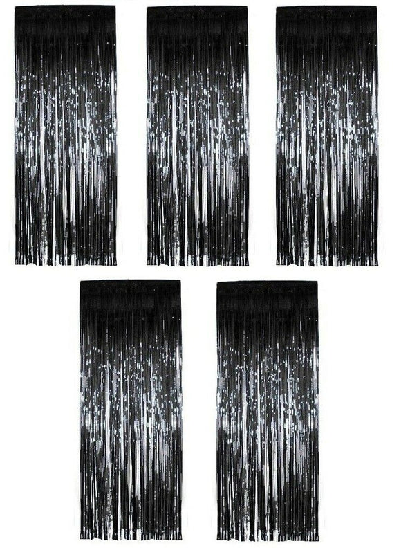 Pack of 5 Black Shimmer Foil Door Curtain decorations - Christmas Curtains Party