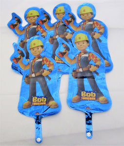 Pack of 5 Bob The Builder Mini Shape Foil Helium Balloons - Kids Party Balloon