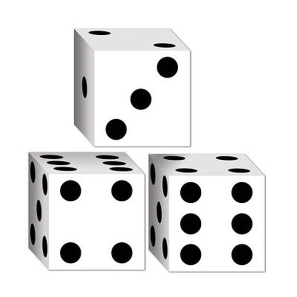 Pack of 3 Dice Card Party Boxes - 8 cm - Casino Dice Favor Box Table Decorations