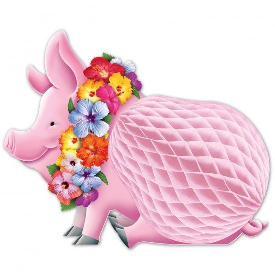 Luau Pig Honeycomb Decoration - 30 cm - Tropical Lei Luau Party Decorations