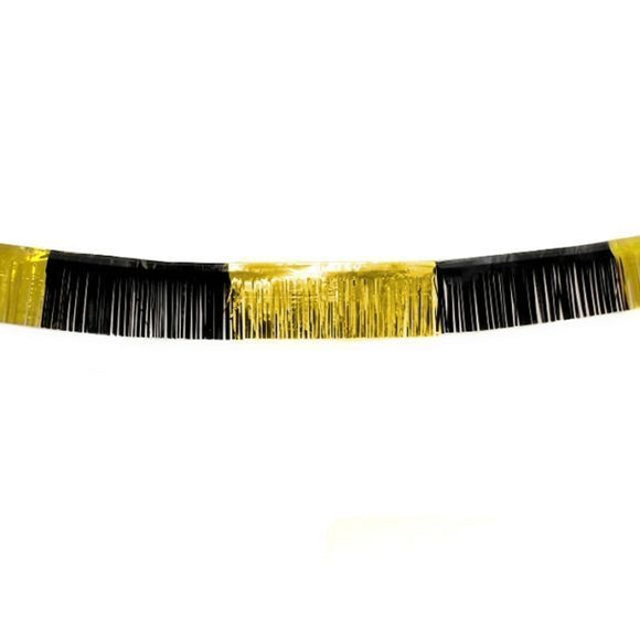 Pack of 5 Black and Gold 18ft Foil Fringe Garland - Christmas Party Decoration