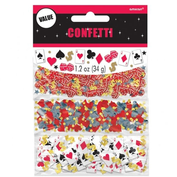Pack of 3 Casino Confetti - 34g - Playing Cards, Card Suit, Dice Stars & Dollars