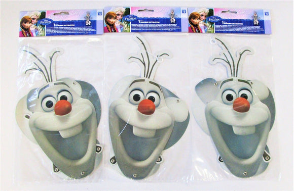 Pack of 3 Disney Frozen Olaf Jointed Hanging Party Decorations - 53 cm x 17 cm
