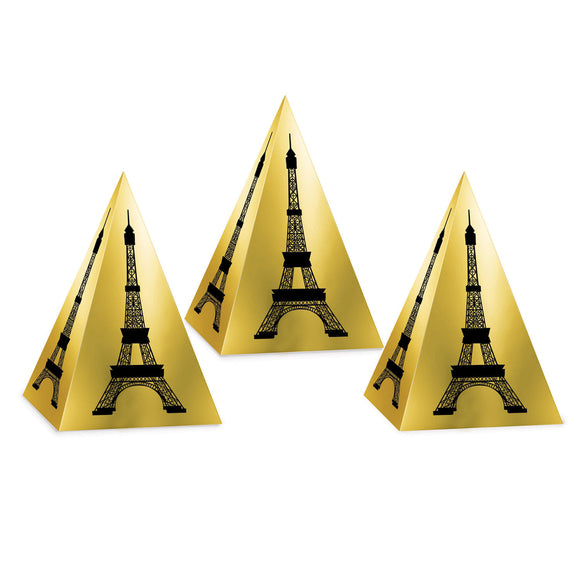Pack of 3 Eiffel Tower Foil Favor Boxes - French Themed Party Decorations