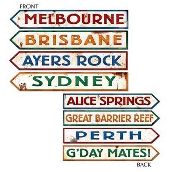 Pack of 4 Double sided Australian Street Signs - Aussie City Party Decorations