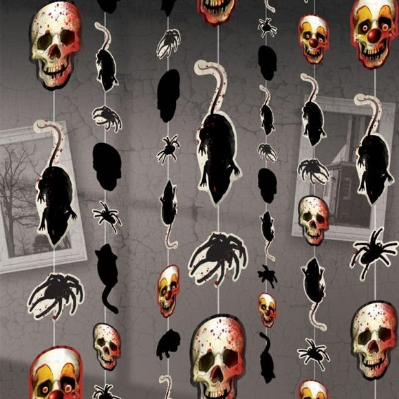 Pack of 8 Creepy Carnival Hanging Decorations - 1.8 m - Halloween Party