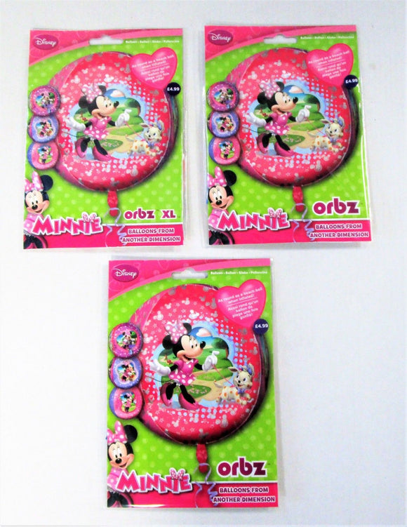 Pack of 3 Disney Minnie Mouse Orbs Foil Helium Balloons - Kids Party Balloon