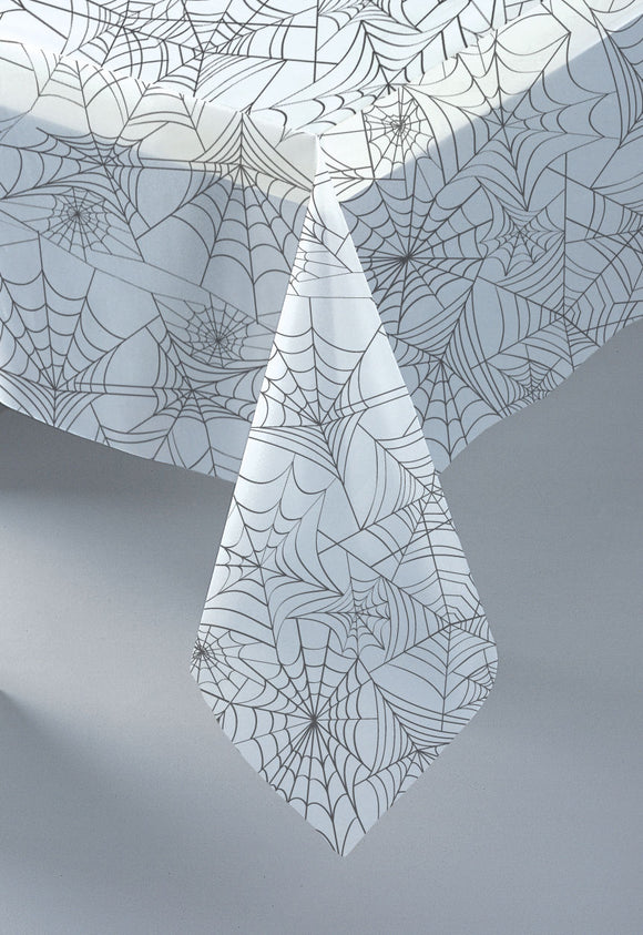 Spider Web Plastic Table Cover - 1.37 x 2.74 m - Halloween Tableware - Clear