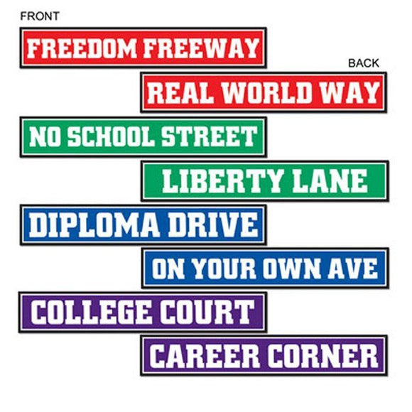 Pack of 8 Graduation Street Signs - 10 x 61cm - Graduate Exams Party Decorations