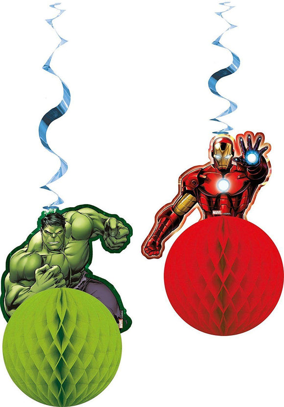 Pack of 2 Avengers Assemble Hanging Honeycomb Decorations - Marvel Party