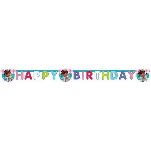 Doc McStuffins Happy Birthday Letter Banner - Disney Hanging Party Decorations