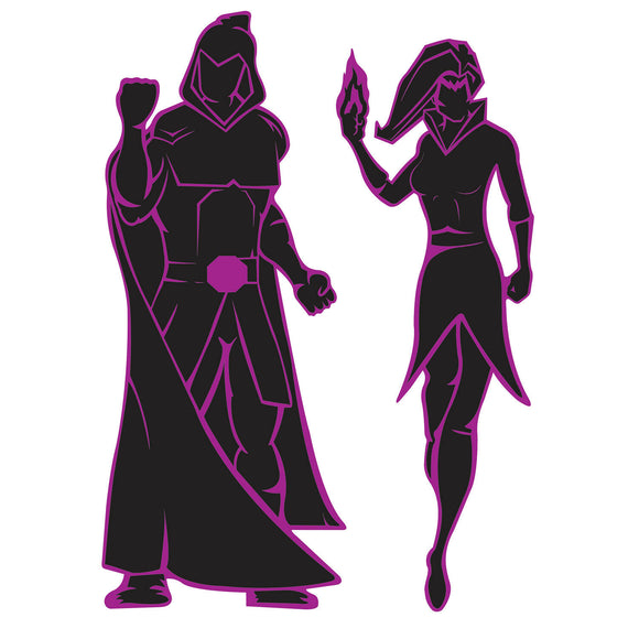 Pack of 2 Villain Silhouettes Party Decorations - Superheroes - Wall Decoration