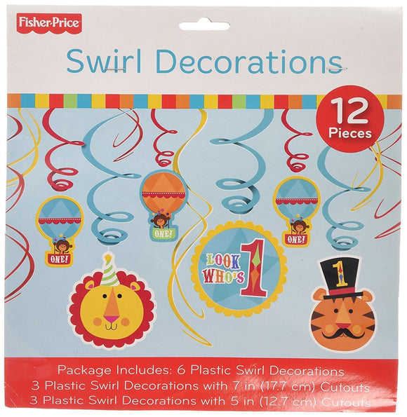 Pack of 12 Fisher Price 1st Birthday Swirl Decorations Hanging Party Decoration