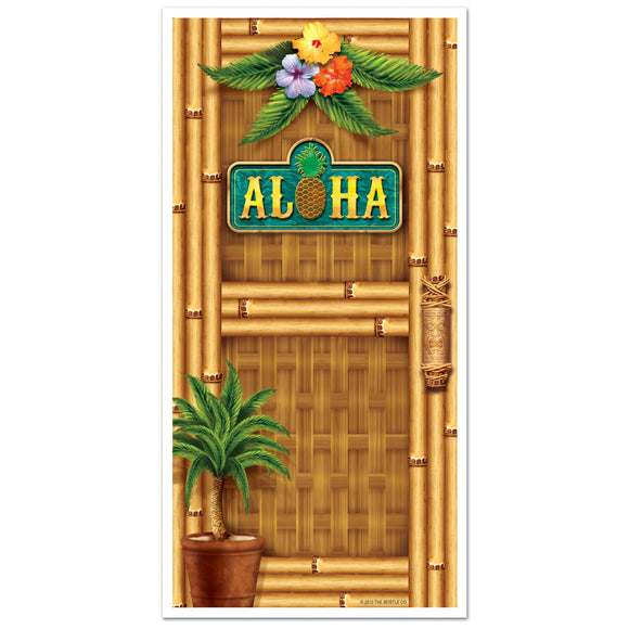 Aloha Plastic Door Cover - 76 cm x 152 cm -  Tropical Party Decorations LUAU