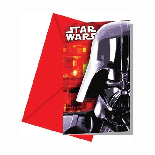 Pack of 6 Star Wars Invitations and envelopes - Disney Party Invites