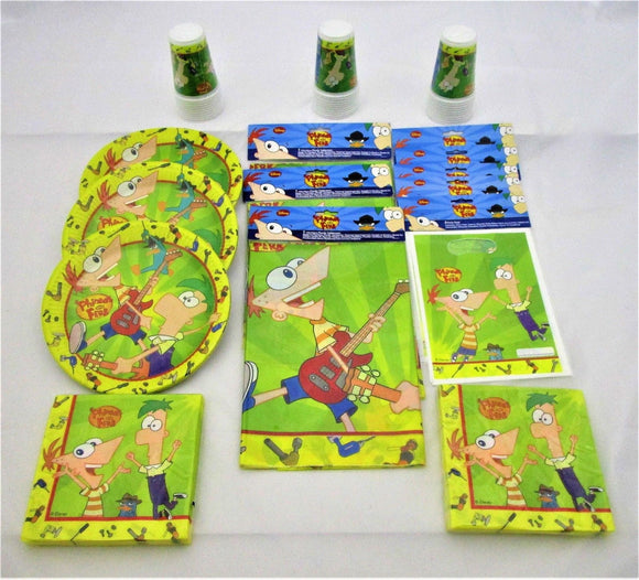 Phineas & Ferb Party Pack for 30 Children - Disney Tableware And Decorations Kit