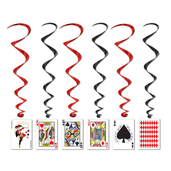 Pack of 5 Playing Card Whirls - Black & Red Casino Card Party Decorations