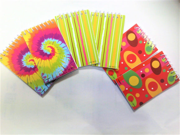 Pack of 18 Mini Notebooks - 5 x 8.5 cm - Assorted Designs - Party Bag Fillers