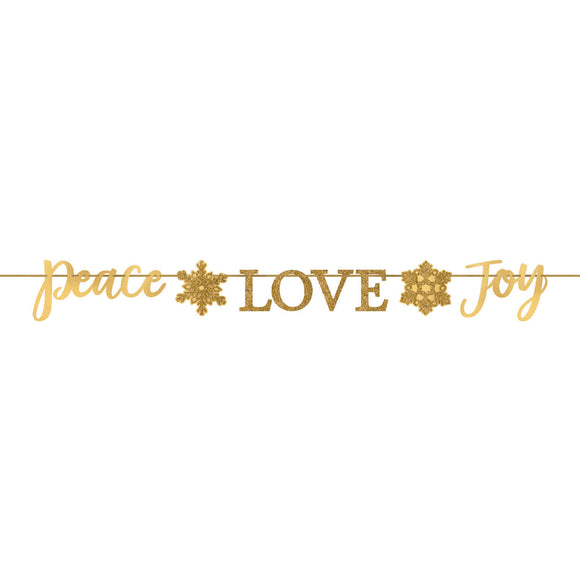 Peace Love and Joy Gold Glitter Christmas Letter Banner - Xmas Party Decorations