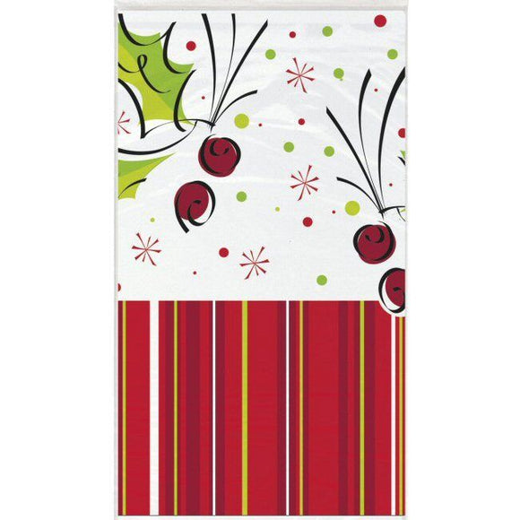 Holly Pop Plastic Table Cover - 137 cm x 213 cm - Christmas Party Tableware