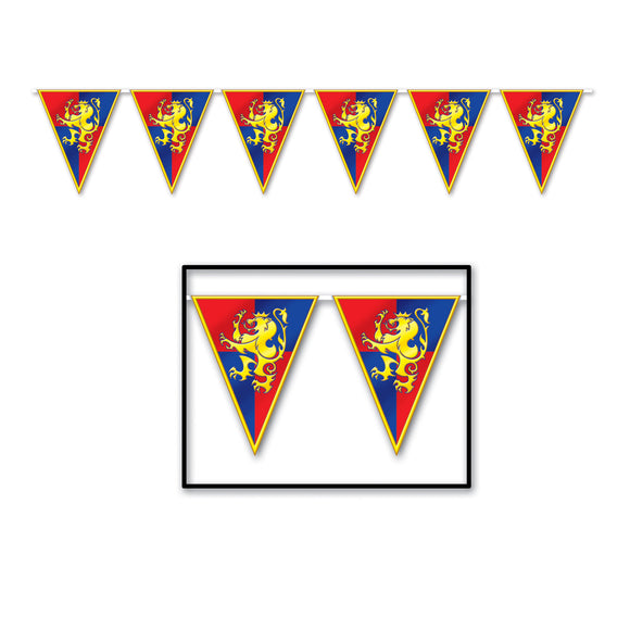 3.6m Medieval Plastic Pennant Banner - Crested Shield Party Decorations