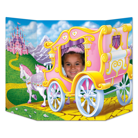 Pink Princess Carriage Photo Prop - 94  x 64 cm - Princess Party Decorations