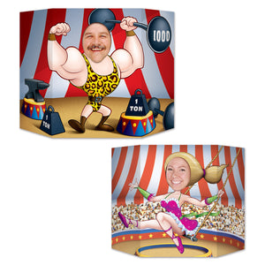 Circus Couple Photo Prop - 94 x 64 cm - Strongman & Trapeze Party Decorations