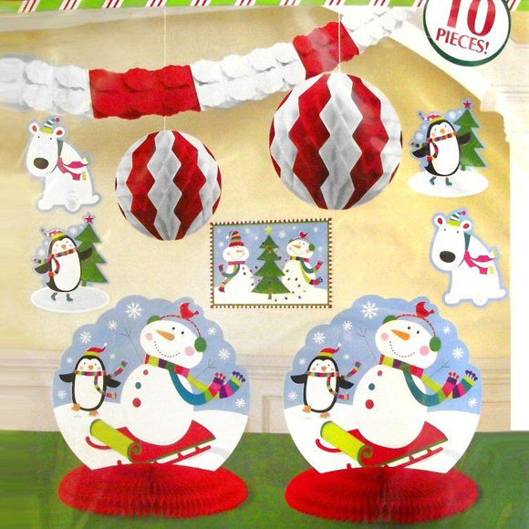 Snowman and Friends Room Party Decorating Kit - 10 Piece Christmas Decorations