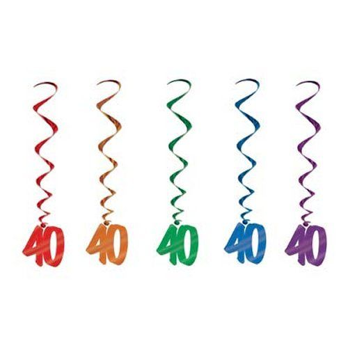 Pack of 5 40th Birthday Hanging Whirls - 91cm - Happy Birthday Party Decorations