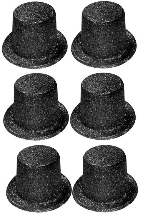 Pack of 6 Black Glitter Top Hats - Fancy Dress Accessories - Hollywood Party Hat