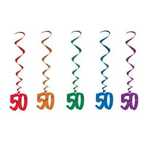 Pack of 5 50th Birthday Hanging Whirls - 91cm - Happy Birthday Party Decorations
