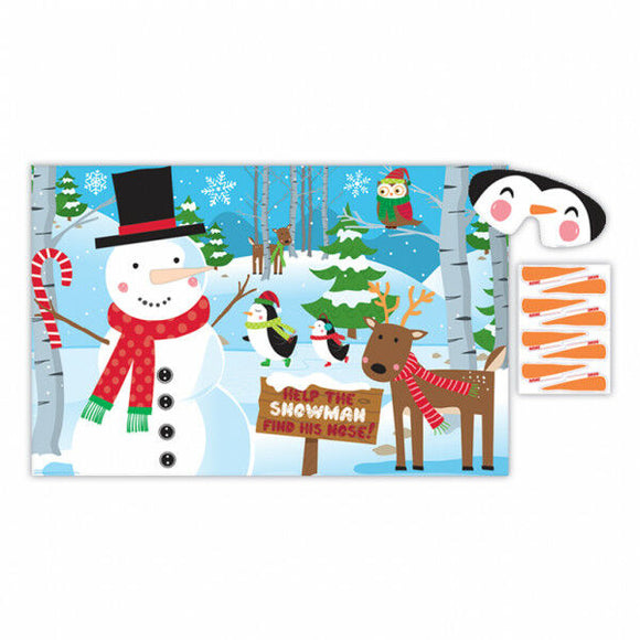 Pin The Nose on the Snowman Christmas Party Game - Fun Kids Xmas Games