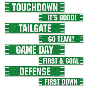 Pack of 8 American Football Street Signs - 10 x 61cm - Football Party Decoration