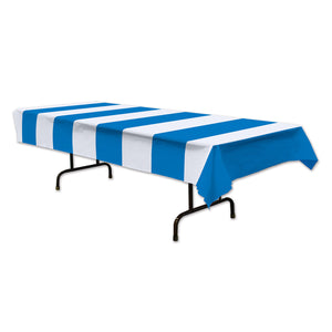 Blue & White Stripe Table Cover - 137 x 274 cm - Party Decoration & Tableware
