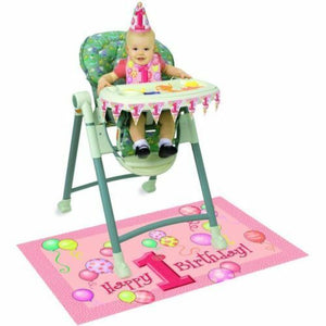 Happy 1st Birthday Highchair Set - Pink - Complete Party Kit with Decorations