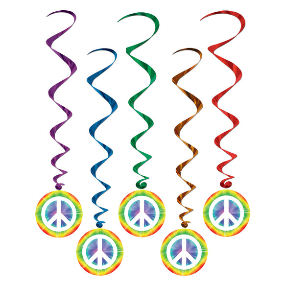5 Peace Whirl Decorations - Swing 60's Party - Hippy Hanging Decoration