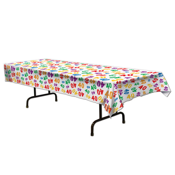 40th Celebration Plastic Table Cover - Birthday Tableware - Party Decorations