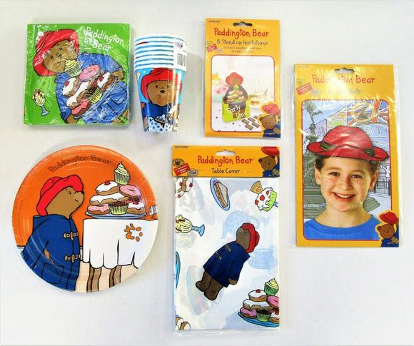 Paddington Bear Deluxe Party Tableware pack for 8 Plates Cups Napkins Tablecover