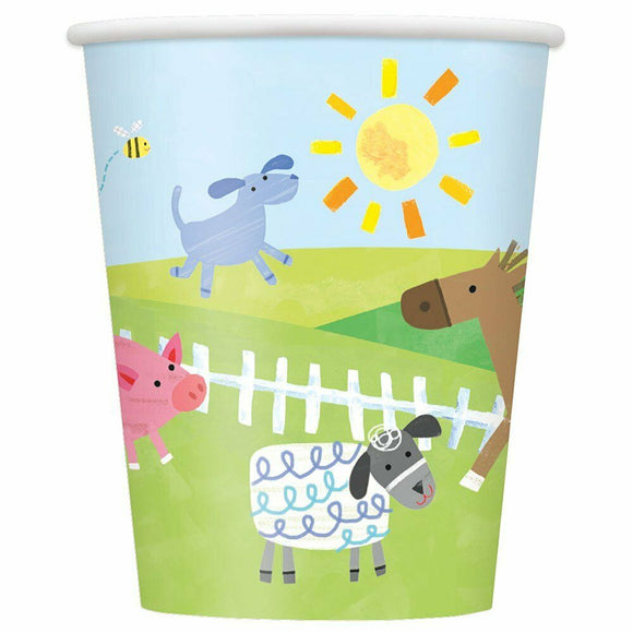 Pack of 8 Farm Animals Paper Cups - 270 ml - Party Tableware