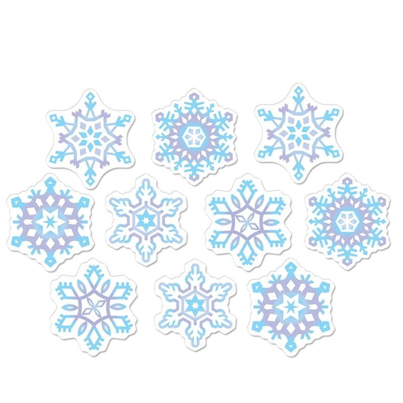 Pack of 10 Mini Snowflake Cutouts - 11cm - Christmas & Winter Party Decorations